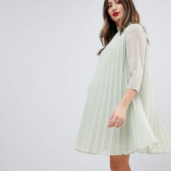 678f6222d29 ASOS Maternity Pleated Trapeze Mini Dress - Size 2